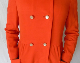 Womens Vintage 1980's Double Breasted Orange Peacoat Dress Coat Size Small