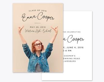 Fun Grad Photo Graduation Announcement + Invitation Printable