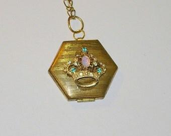 Handmade Upcycled Locket with Rhinestones and Opal