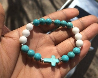 White Alabaster and Turquoise Cross Bracelet
