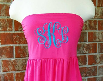 Monogrammed Cover Up-Coverup-Bathing Suit-Swim Suit-Swimsuit-Cover up-Swimsuit Cover Up-Monogram-Beach Dress-Pink-Strapless-Monogrammed Gift