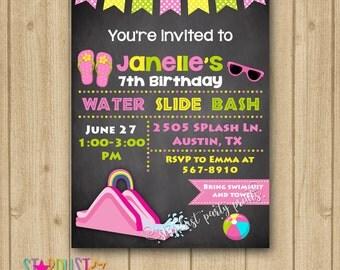 Water Slide Invitation, Water Slide Birthday Invitation, Water Slide Party Invitation, Girl Water Slide Invitation