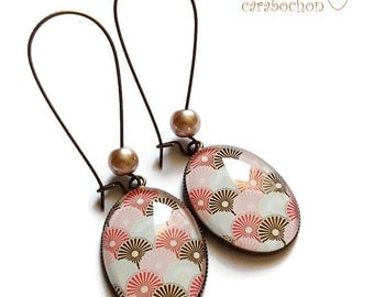 Earrings * Japanese waves * Japanese traditional pattern, glass cabochon