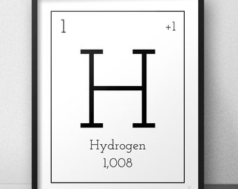 Periodic table print Black and white Periodic poster Chemical elements print Periodic table decor Educational print for science lovers