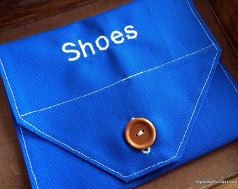 Parts of a Shoe Nomenclature 3-Part Matching Cards Embroidered Envelope in Organic Cotton Canvas