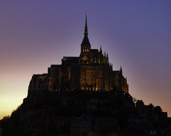 Mt. St. Michel, Color Photograph, Normandy, France, Travel, Europe, Sunset