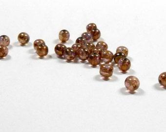 25 Tortoise Topaz Smooth Rounds, 6mm, Tortoise, Topaz, Smooth Rounds, Czech Rounds, Bead Supply, Jewelry Supply, Craft Supplies