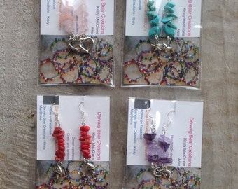 4 pairs gemstone earrings with Tibetan silver charms