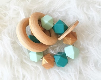Teething Rattle Teether Toy Soothing Toy Sensory Toy Baby Toy Waldorf Natural Toy Wood Rattle Wood Teether Teether Rattle Teething Ring