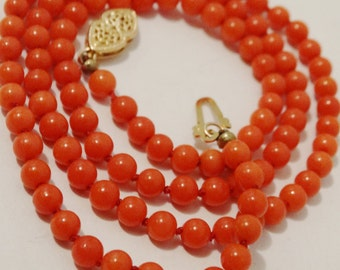Victorian 14K Gold Carved Deep Salmon Red Coral Beaded Necklace.