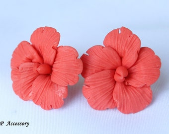 flower earrings, hibiscus earrings, earrings clay, jewelry earrings