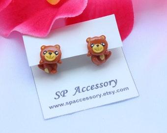 Teddy Bear clay earrings, bear earrings clay, clay earrings, teddy bear stud