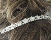 Pearl and crystal bridal hairpiece, Rhinestone wedding halo, Swarovski pearl headpiece