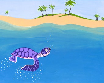 """Art Print 8.5x11"""" Sea turtle Hatchling Offshore with Palm Trees"""
