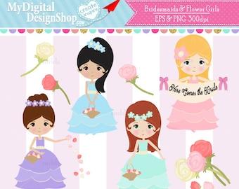 Flower Girl Clipart, Vector EPS PNG Image, Bridesmaid Clip Art, Wedding Girls,  Kids Wedding Digital, Brunette Girl With Basket, Blonde C034