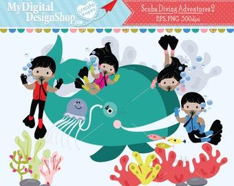 SCUBA Diver 2 Clipart, Vector EPS PNG Image, Boy Girl Diving, Under the Sea Animal Life, Kids Swimming, Whale Digital, Aquarium Summer |C077