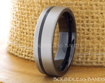 Tungsten Wedding Ring Mens Band Black Gun Metal Tungsten Ring Anniversary Ring Promise Ring Engagement Band Comfort Fit Mens Tungsten Ring