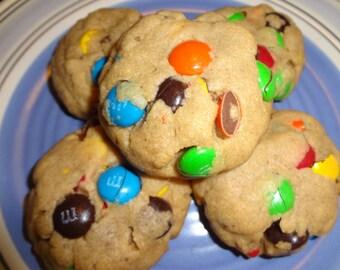 Homemade Soft & Puffy Peanut Butter M and M Cookies (2 Dozen)