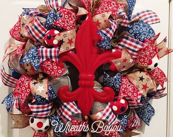 Patriotic Wreath Summer Wreath Fourth of July Wreath Memorial Day Wreath Independence Day Wreath Fleur de Lis Wreath **MADE TO ORDER **