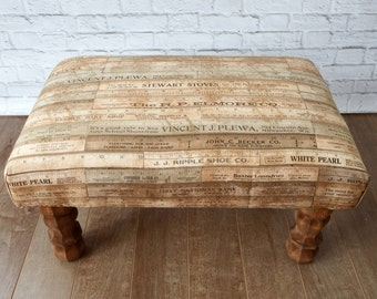 Footstool - wooden ottoman - farmhouse country upholstered ottoman - rustic footstool - living room furniture - upholstered bench - pouf