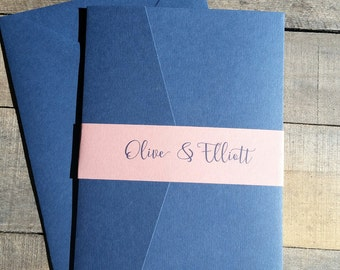 Blue and Pink Wedding Invitation Suite, Wedding Invitation, Pocketfold Wedding Invitation, Cobalt Dusty Pink, Pocket Fold