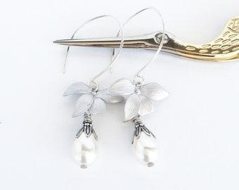 Orchid Flower Earrings, Cream Pearl Earrings, Swarovski Teardrop Pearl Earrings, Silver Flower Long Dangle Earrings, Wedding Jewelry