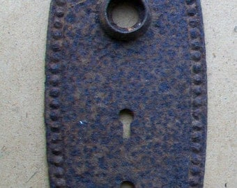 Vintage Antique Door Knob Backplate - Nice And Rusty