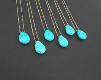 Turquoise necklace, long turquoise teardrop pendant, boho bridesmaid necklace, Gold fill, Sterling Silver, Rose gold fill, beach wedding