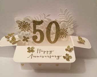 golden wedding anniversary card. Pop up card in a box.