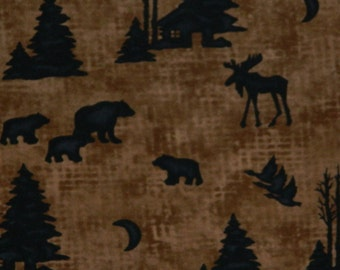 Moda Fabric ~ Winter at the Lodge by Holly Taylor ~ Black Moose, Bears, Cabin (1- 1/2 to 3 Inches) on a Brown Background~ FLANNEL