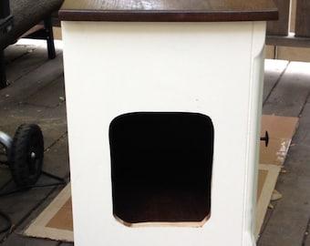 Custom made cat litter box side tables.