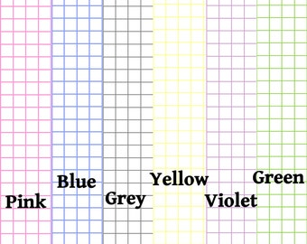 """PRINTED - Graph Paper 1/4"""" spacing 6 colors Traveler's Notebook Fauxdori Insert For ALL Sizes including B6 and A6!"""
