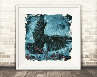 Dark Art - Crow Art - Blue Home Decor - Blue Contemporary Art - Rustic Blue Decor - Raven Art - Raven Print - Crow Gift - Blue Crow Wall Art