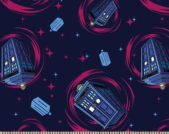 Doctor Who Phone Booth Fabric / SC Doctor Who 57138 Phone Booth / Tardis Fabric / Dr Who by the Yard /  Yardage and Fat Quarters