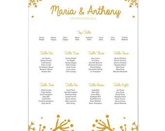 Winter Festive Wedding Table Plan / Seating Plan / Table Planner / Seating Chart