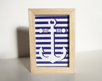 Wooden frame with striped anchor - Wood frame with striped anchor