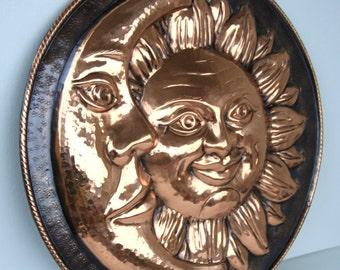 Decorative plate handmade in copper-Sun and moon-dim. 42 cm