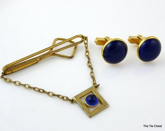 Vintage Swank Cufflinks and Tie Chain Blue Cabochon 1930s 1940s
