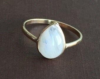 14k solid yellow gold and rainbow moonstone ring, pear shaped , cabochon