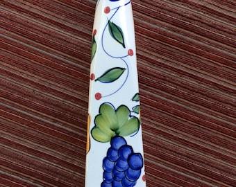 Tall Slender Vase, Pottery Vase, White Vase, Tall Ceramic Vase, Floral Vase, Hand Painted Vase, Tall Vase, Flower Vase, Thin Fruit Vase