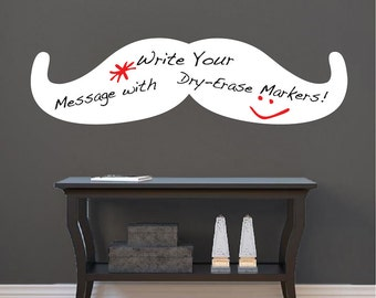 Mustache Dry Erase Wall Decal Wall Murals, Dry Erase Mustache Wall Decal, Writable Wall Decals, Writable Wall Stickers, Mustache Decor, b83