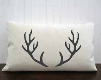 Elk Antler Pillow.  Burlap Pillow Cover. Cotton Canvas Pillow Cover. Custom Pillow Cover. Personalized Gift. Zipper enclosure