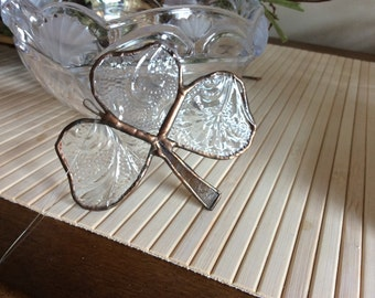 Small Stained Glass Shamrock Clear Art Glass