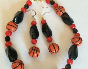 Hand Made Sports Fever Bracelet and Matching Earrings