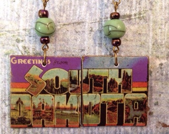 Up-cycled South Dakota State Postcard Earrings, decoupage earrings, cereal box earrings