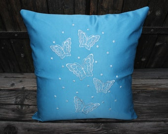 Heavenly butterflies embroidered cotton decorative pillow