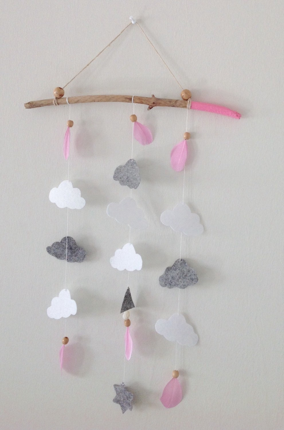 Baby girl mobile nursery decor cloud mobile driftwood wall for Decor mural bois flotte