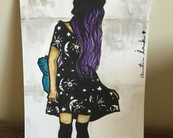 Modern girl watercolor