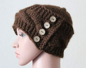 Xavier Stylish Hat/Baby Alpaca Super Soft/Cable Pattern/Hand knitted/4 Wooden Buttons/Adult Size