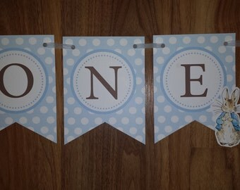 First Birthday Peter Rabbit 'ONE' Bunting Banner